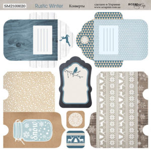Лист 20х20см Конверты Rustic Winter от Scrapmir