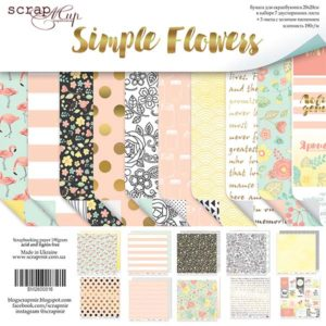 Набор двусторонней бумаги 20х20см от Scrapmir Simple Flowers