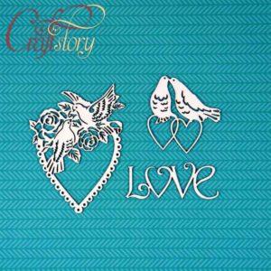 503010 Чипборд Сердечки с голубями