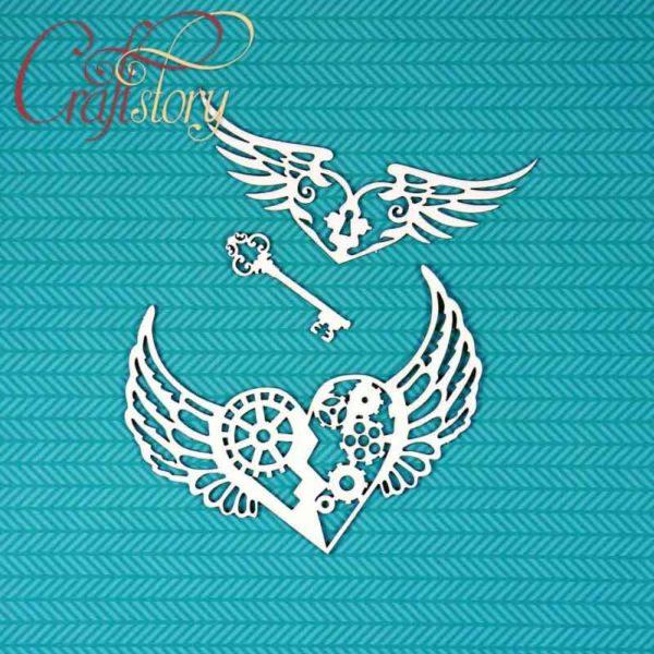 513009 Чипборд Сердца с крыльями