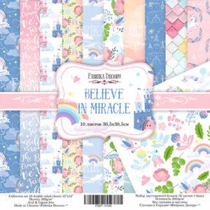 """Набор бумаги """"Believe in miracle"""", 30,5x30,5 см"""