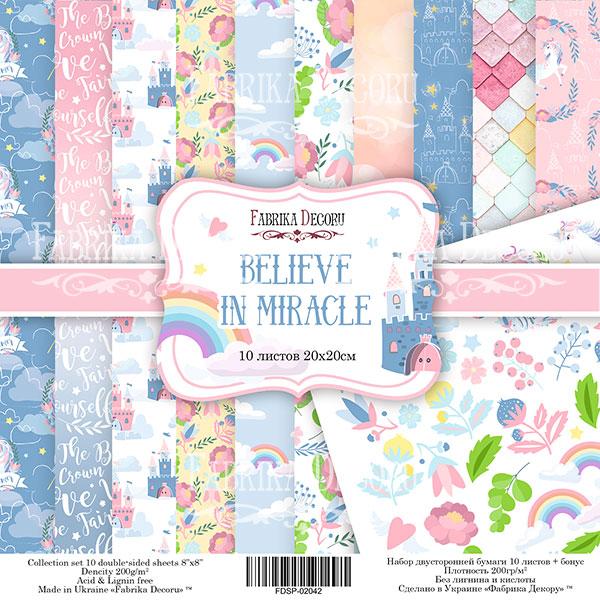 """Набор бумаги """"Believe in miracle"""", 20x20 см"""