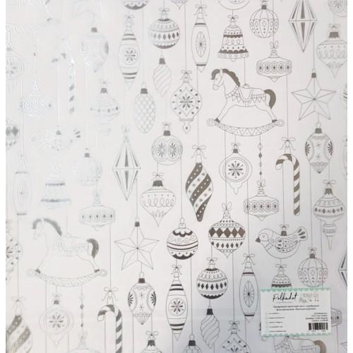 """ac100-08 Прозрачный ацетатный лист с серебряным фольгированием """"Ёлочные игрушки"""""""